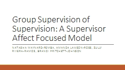 Peer  Supervision for Licensed Supervisors: An Emotion and Supervisor Focused