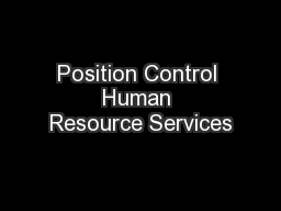 Position Control Human Resource Services
