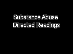 Substance Abuse Directed Readings