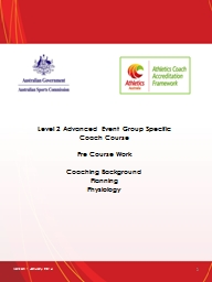 Level 2 Advanced Event Group Specific Coach Course