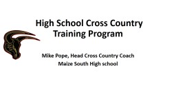 High School Cross Country Training Program