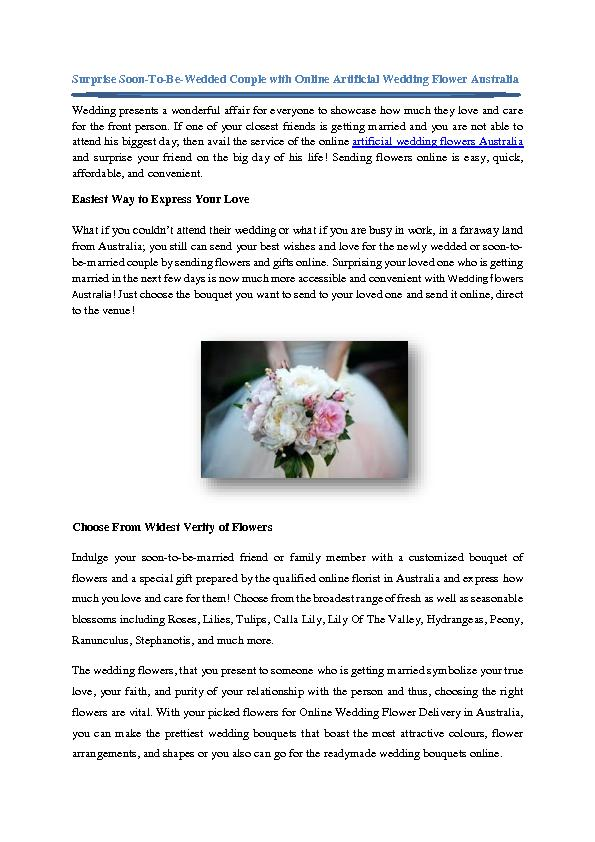 Surprise Soon-To-Be-Wedded Couple with Online Artificial Wedding Flower Australia