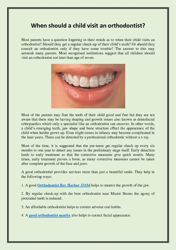 When should a child visit an orthodontist