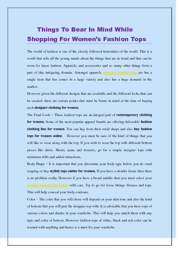 Things To Bear In Mind While Shopping For Women's Fashion Tops