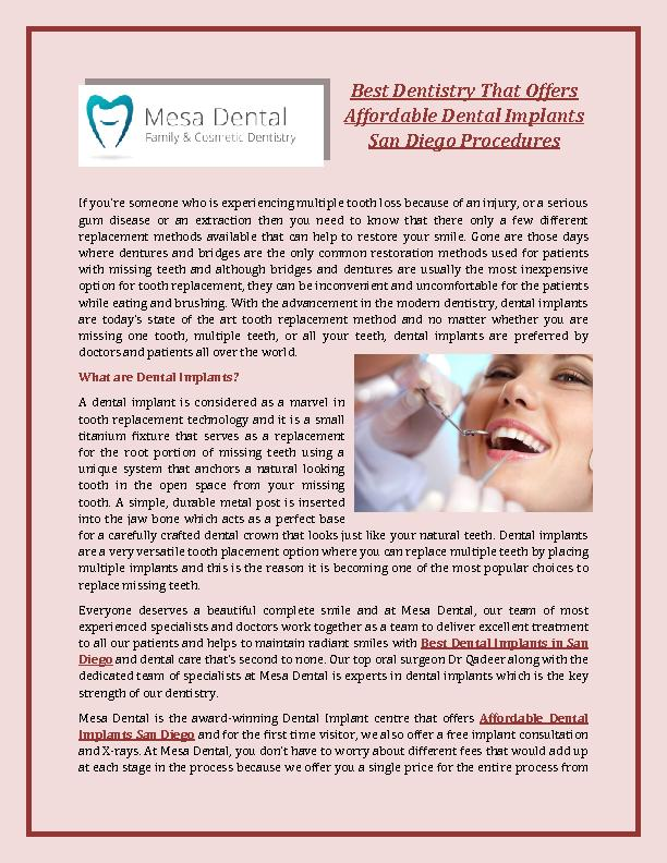 Best Dentistry That Offers Affordable Dental Implants San Diego Procedures PowerPoint PPT Presentation
