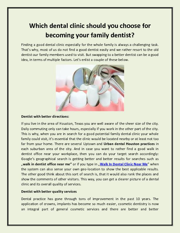 Which dental clinic should you choose for becoming your family dentist