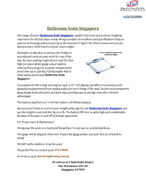 Bathroom Scale Singapore