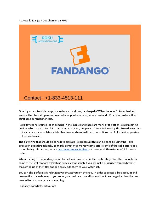 Activate fandango NOW Channel on Roku