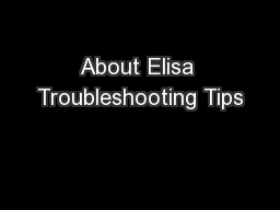 About Elisa Troubleshooting Tips