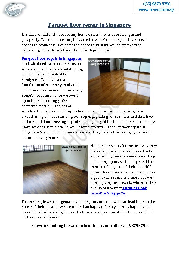Parquet Floor Repair in Singapore
