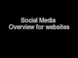 Social Media Overview for websites