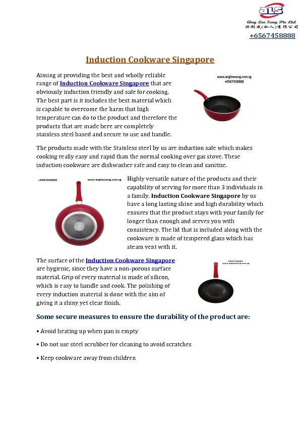 Induction Cookware Singapore PDF document - DocSlides