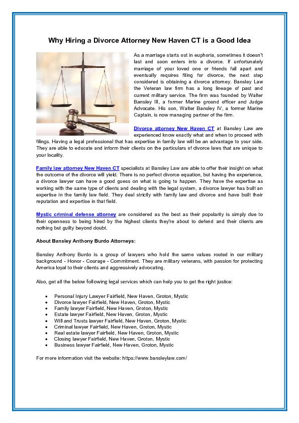 Why Hiring a Divorce Attorney New Haven CT is a Good Idea