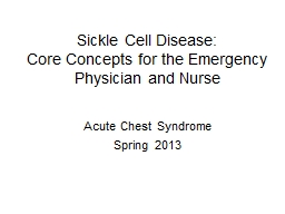Sickle Cell Disease: Core Concepts for the Emergency Physician and Nurse