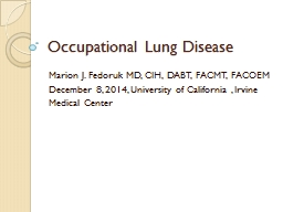 Occupational  L ung Disease