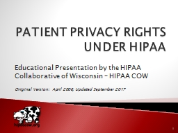 PATIENT PRIVACY RIGHTS UNDER HIPAA