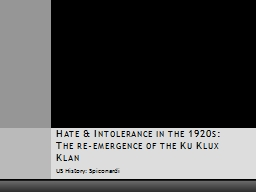 US History: Spiconardi  Hate & Intolerance in the 1920s: The re-emergence of the Ku Klux Klan