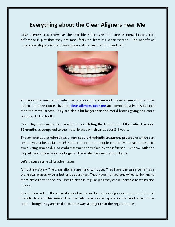 Everything about the Clear Aligners near Me