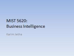MIST 5620:  Business Intelligence