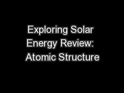 Exploring Solar Energy Review: Atomic Structure