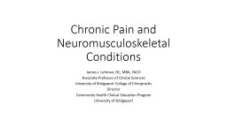 Chronic Pain and Neuromusculoskeletal Conditions