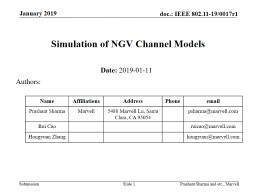 Slide  1 Simulation of NGV Channel Models