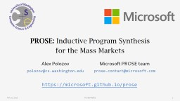 PROSE:  Inductive Program Synthesis