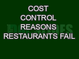COST CONTROL REASONS RESTAURANTS FAIL