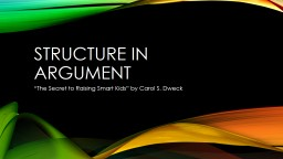 "Structure in Argument ""The"
