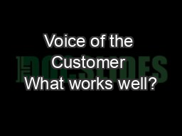 Voice of the Customer What works well?