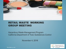 Retail Waste  Working Group meeting