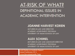 At-Risk of What?  Definitional issues in Academic Intervention