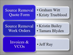 Source Removal Info Source Removal Quote Form (SRQF)