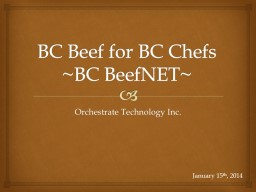 BC Beef for BC Chefs ~BC BeefNET~
