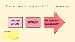 Conflict and Tension Lesson 13: The Armistice