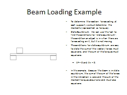Beam Loading Example To  determine the reaction forces acting at each support, we must determine th