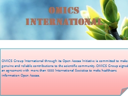 OMICS  International Contact us at: contact.omics@omicsonline.org