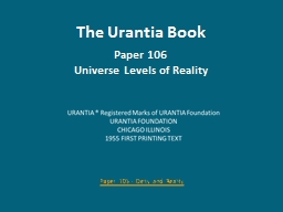 The Urantia Book Paper 106
