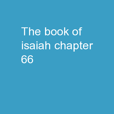 The Book of Isaiah Chapter 66