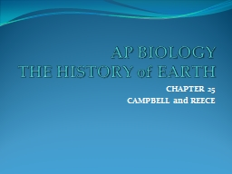 AP BIOLOGY THE HISTORY of EARTH PowerPoint PPT Presentation