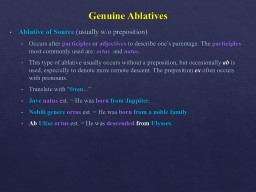 Week 13 Review Topic:   The Ablative Case