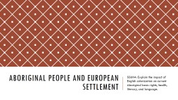 Aboriginal People and European Settlement