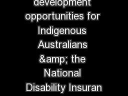 Economic development opportunities for Indigenous Australians & the National Disability Insuran