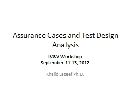 Assurance Cases and Test Design Analysis