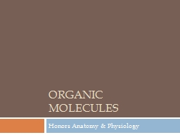 Organic Molecules Honors Anatomy & Physiology