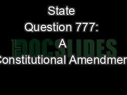 State Question 777: A Constitutional Amendment