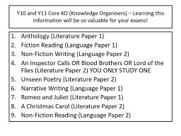 Y10 and Y11 Core KO (Knowledge Organisers) � Learning this information will be so valuable for yo