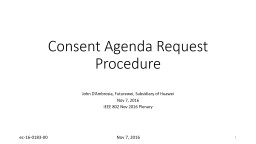 Consent Agenda Request Procedure