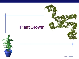2007-2008 Plant Growth Growth in Animals
