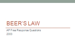 Beer�s Law  AP Free Response Questions